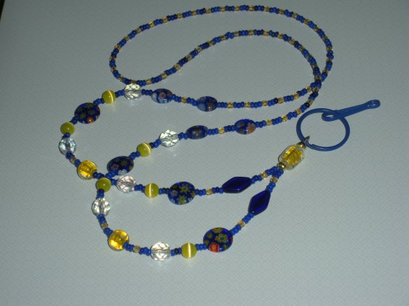 Cobalt blue and yellow, with Vintage Venetian seed beeds and Millefiori beads