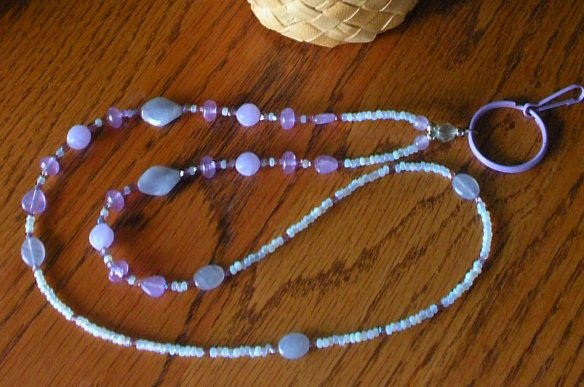 "My latest lanyard ~ light purple with ""old opal"" Vintage Venetian seed beads"
