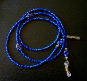Cobalt blue leash for glasses with Millefiori beads.