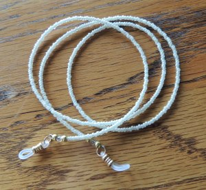 Vintage Venetian seed beads in Pearl make a simply, classy leash for your glasses.