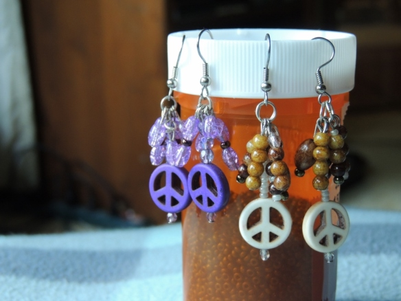 "New Earrings made by me: ""Peace of Purple"" and ""Peace, Love, Coffee"""