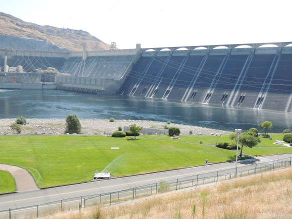 Grand Coulee Dam -- so big that you could fit Hoover Dam in the spillway area on the right side of this picture and still have an additional 400 feet of space!