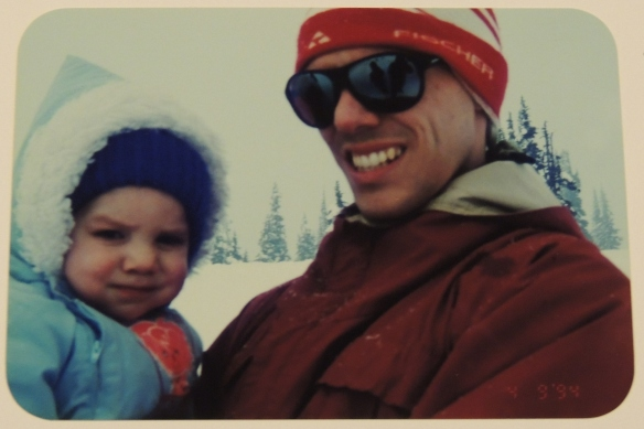 EB and SuperDad play in the snow on Mt. Rainier, early 1994