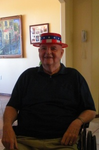 """One of the other residents offered Dad the use of this patriotic """"campaign"""" hat, so I snapped a photo."""