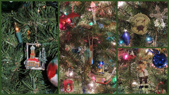 Ornaments from where we've lived: Germany, Seattle area (red umbrella, Washington State Ferry), and LoCo, Virginia