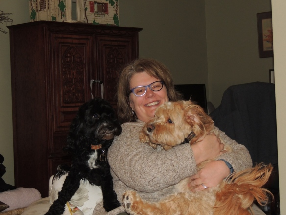 Mrs. G. with Gus and Chewie