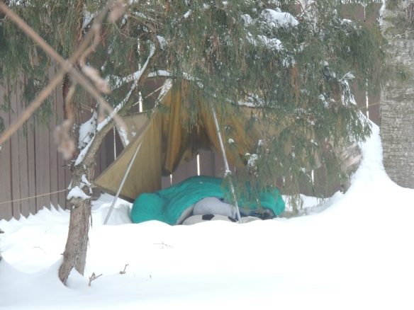 Crazy winter camping child