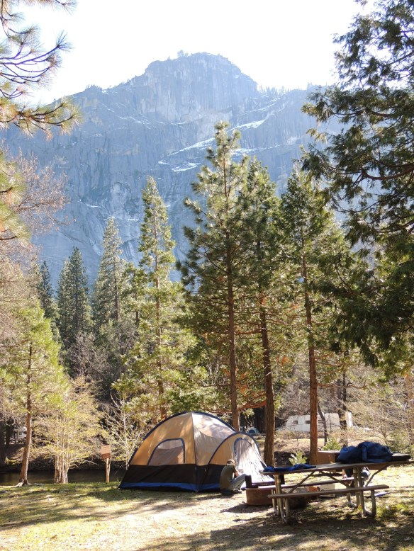Our campsite on the Merced River in Yosemite National Park