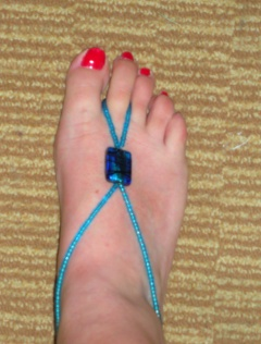 Barefoot sandal in cerulean blue with foil bead