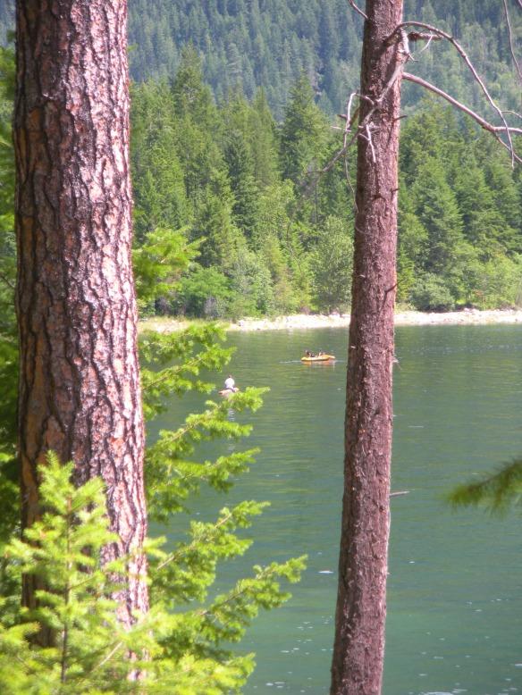 raft paddling on Lower Arrow Lake