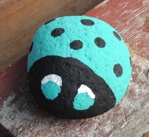DSCN3769  Turquoise ladybug rock