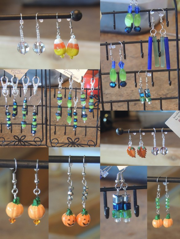 Fall earrings, Disco ball earrings, and Seahawks-theme key chains, charms, zipper pulls, and earrings -- all for sale
