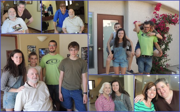 Clockwise from top left: posing with my dad and the book I made for him, my almost-twin brother with Dad, 4 cousins, me with my sweet SIL, my niece with my stepmother (a.k.a., Grandma), 4 cousins with Grandpa