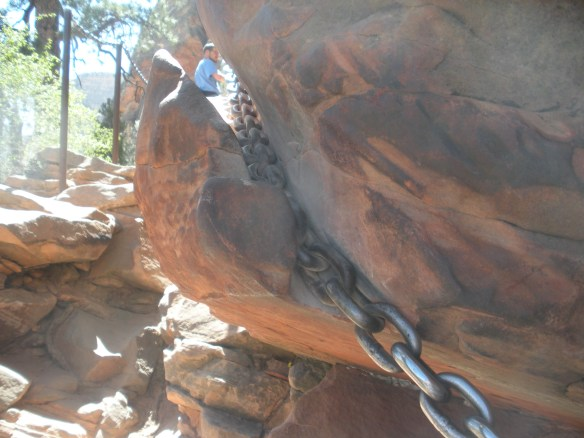 Over time, the chain has worn into the sandstone rock. I'm not sure if this is a comfort or a worry.