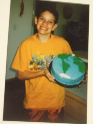 Happy 13th Earth Day birthday!  Mom made the cake, MM did the decorating.