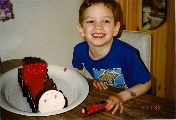 5th birthday with James (the red #5 engine from Thomas the Tank Engine series)
