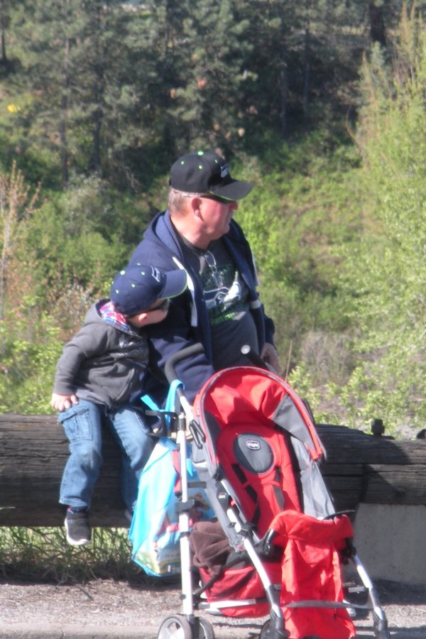 This little guy and his grandfather made quite the spectator pair in their matching sunglass and Seahawks caps.