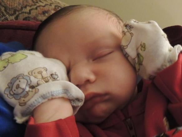 Sleeping precious boy in my arms
