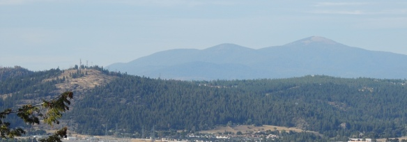Beacon Hill, left foreground, and Mt. Spokane, right background
