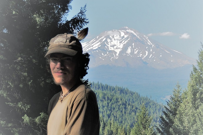 DSCN1316 The Hiker with owl feather in cap and Mt. Shasta in background, WEBSIZED
